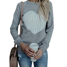 Women's Hot Selling Winter Pullover Sweater Long Sleeve Crewneck Jumper Cable Knit Heart Cute Jumper Sweater Tops
