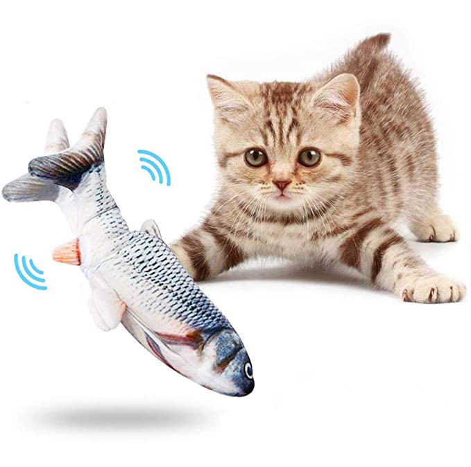 Wholesale Amazon Best USB Charging Plush Fish Toy,Electric Simulation Fish Interactive Floppy Smart Pet kicker Fish Toy For Cat