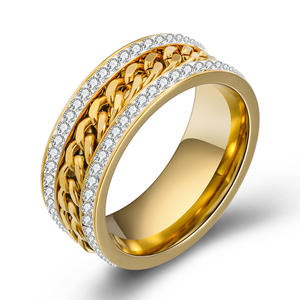 Fashion environmentally friendly personality two-row diamond gold plating middle chain ring Rotatable Chains Unique Jewelry Ring