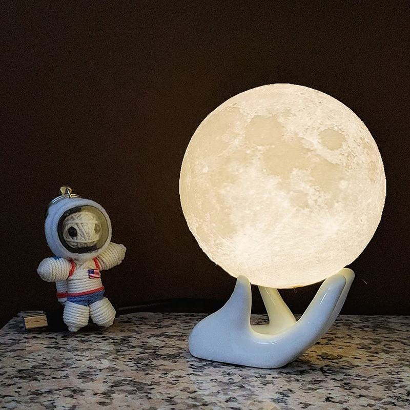 Multicolor Home Decoration customised table lamps touch mood lights moon lamp small 3d led night light for kids