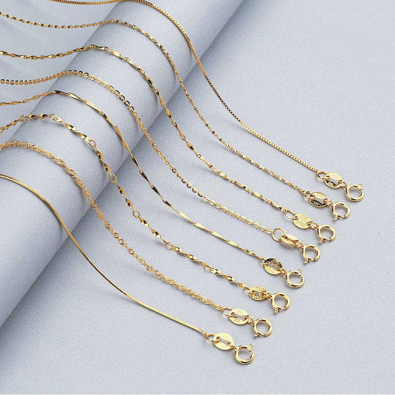 Hot Sale 8 Styles Long Real 925 Sterling Silver Snake Chain Italian Rose Gold Plated Box Chain Jewelry
