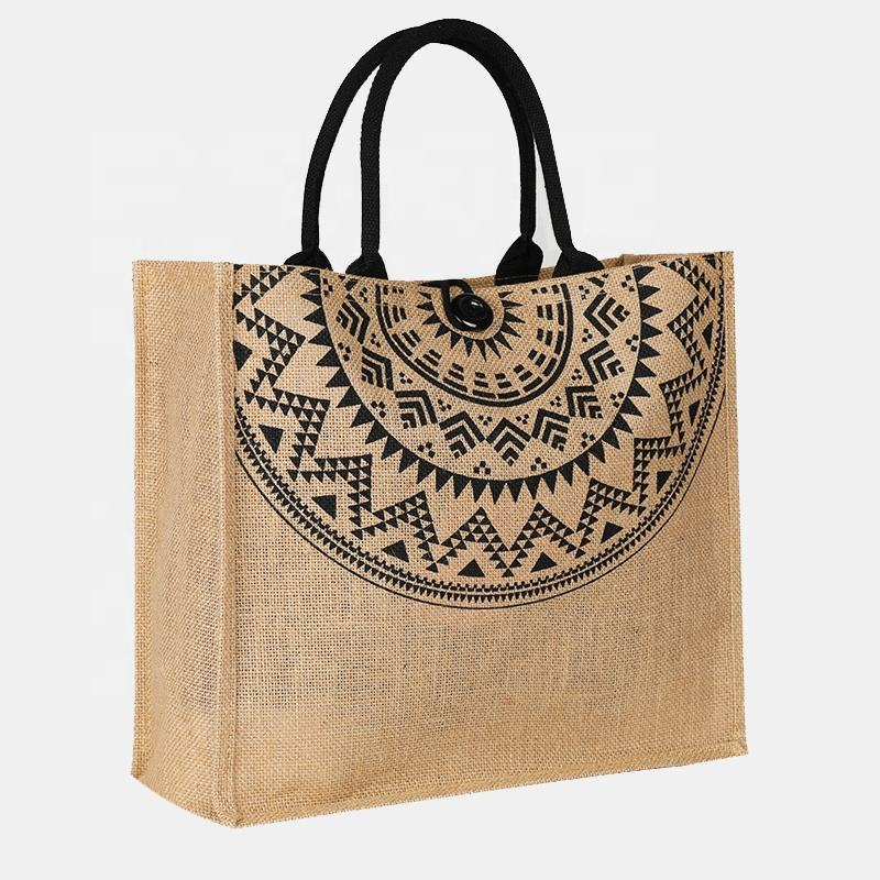 Wholesale promotion jute hemp grocery hasp shopping bag large burlap beach tote bag with cotton webbing handle