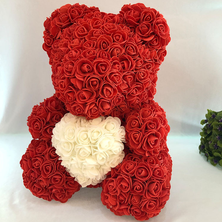 christmas rose bear foam soap flower teddy bear flower flowers artificiales