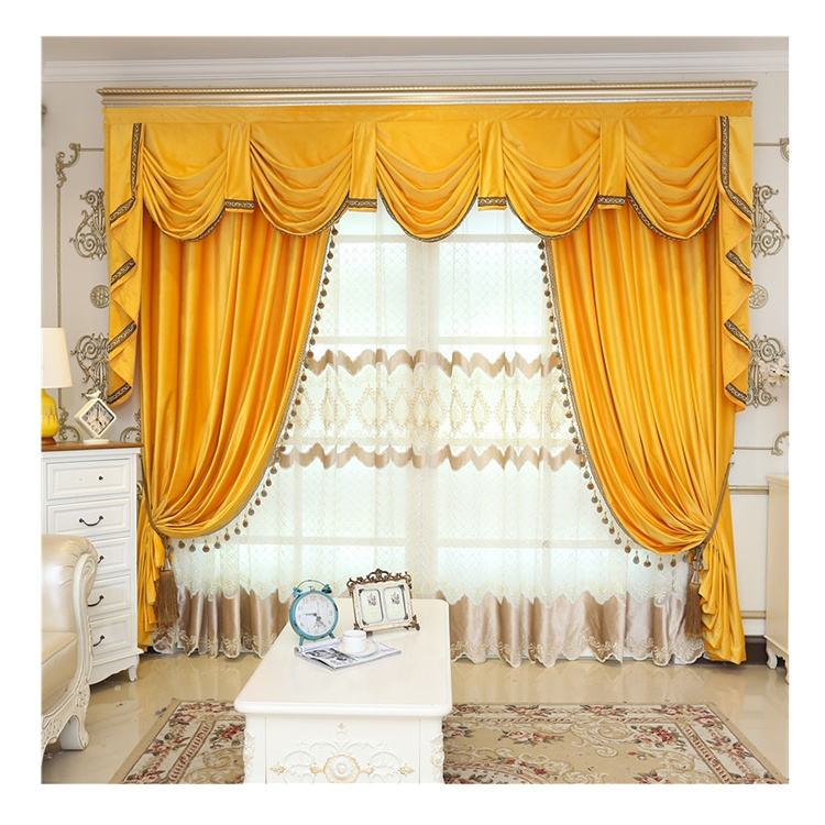 Customized Yelloew Velvet Fabric Luxury and Elegance Valance Window black out Curtain