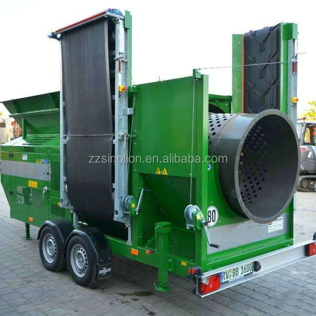 Portable movable trommel screener sifter factory price for organic fertilizer plaster board screening