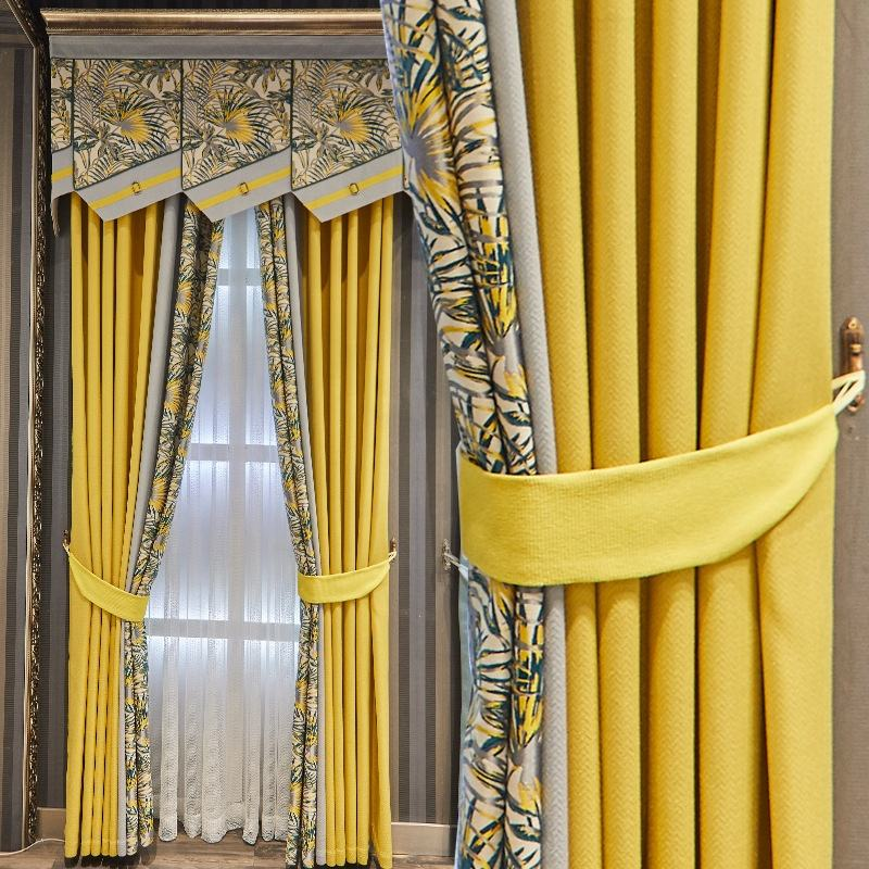 Luxury new style floral country jacquard curtain home ready made window curtains for bedroom living room in yellow and blue