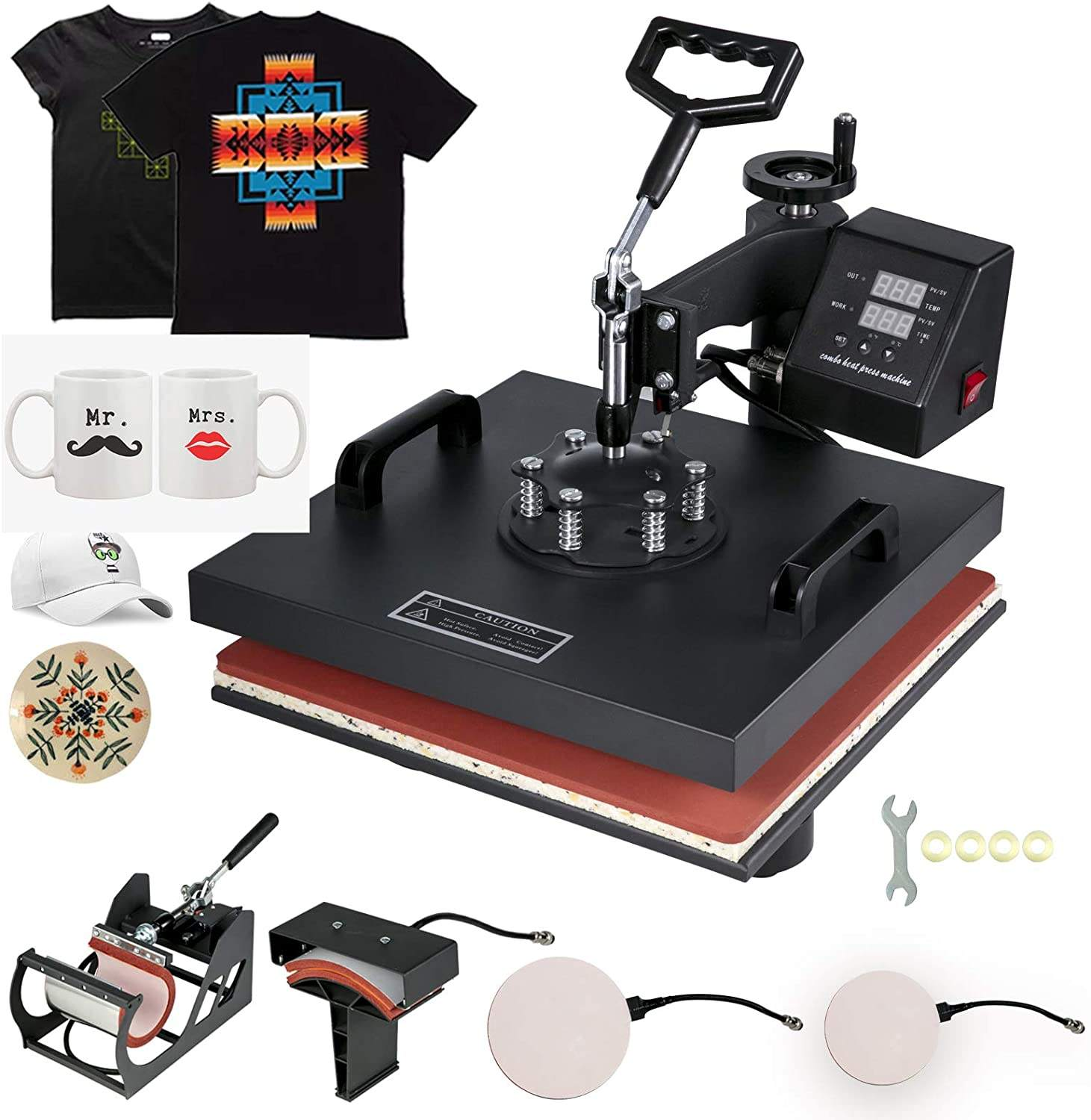 Heat Press 15x15 inch Heat Press 5 in 1 Digital Multifunctional Sublimation Auto-Countdown Heat Press Machine for T Shirts Hat