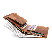 Brown RFID Blocking Trifold Purse Men's Slim Leather Wallet