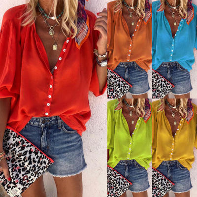 Spot Europe and the United States new explosions solid color long-sleeved V-neck button blouse