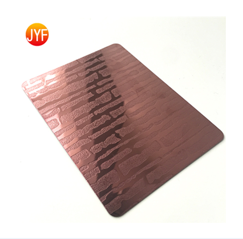 Y329 2020 New Style Simple Installation Rose Red Etched Stainless Steel Wall Sheets For Bedrooms