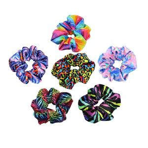 High Quality Colorful Sublimated Leopard Velvet scrunchy Tie dye Hair Scrunchies Rainbow Elastic Hair Bands For Girls