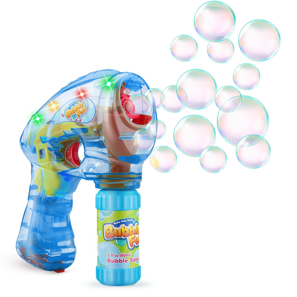 LED Blaster Blower Machine Shooter Battery Operated Light Up Bubble GunとBottle SolutionためKids Outdoor Summer Game