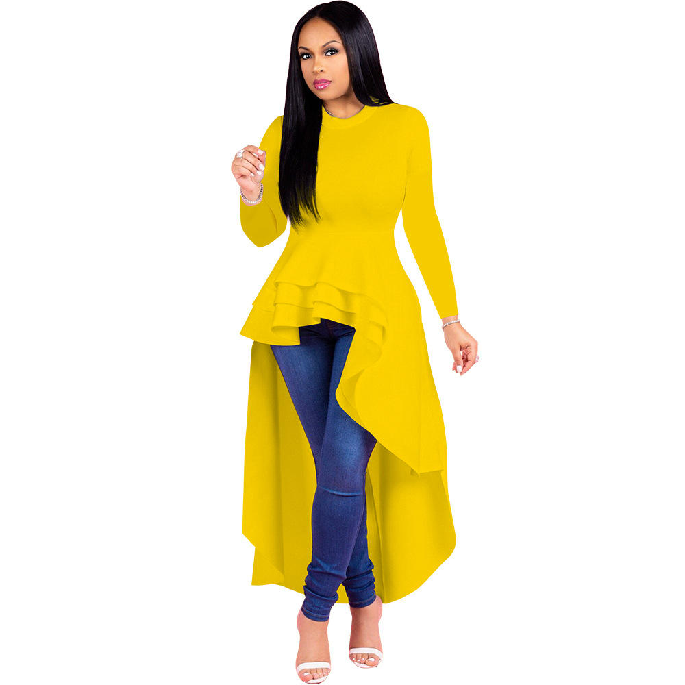 Evening wear ruffle long autumn winter dresses women casual long sleeve