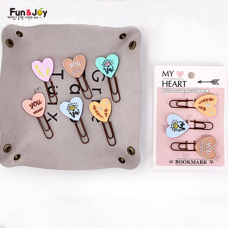 Fun&Joy paper clips Cute Decorative Soft PVC Rubber Cartoon Holder Bookmark Custom Office Paper Clip cute paper clip