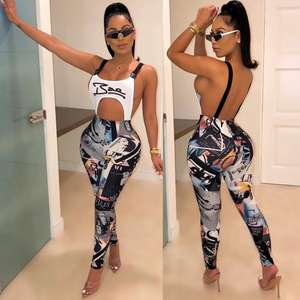 2020 popular C1236 ladies modern hollow out backless letter print bandage jumpsuit