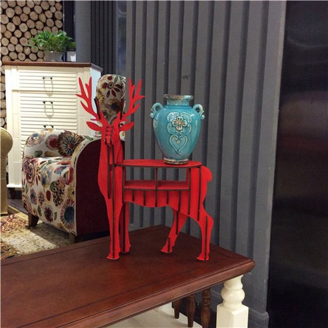DIY wooden art craft wood deer bookcases art deco bookcase for home office &christmas deco