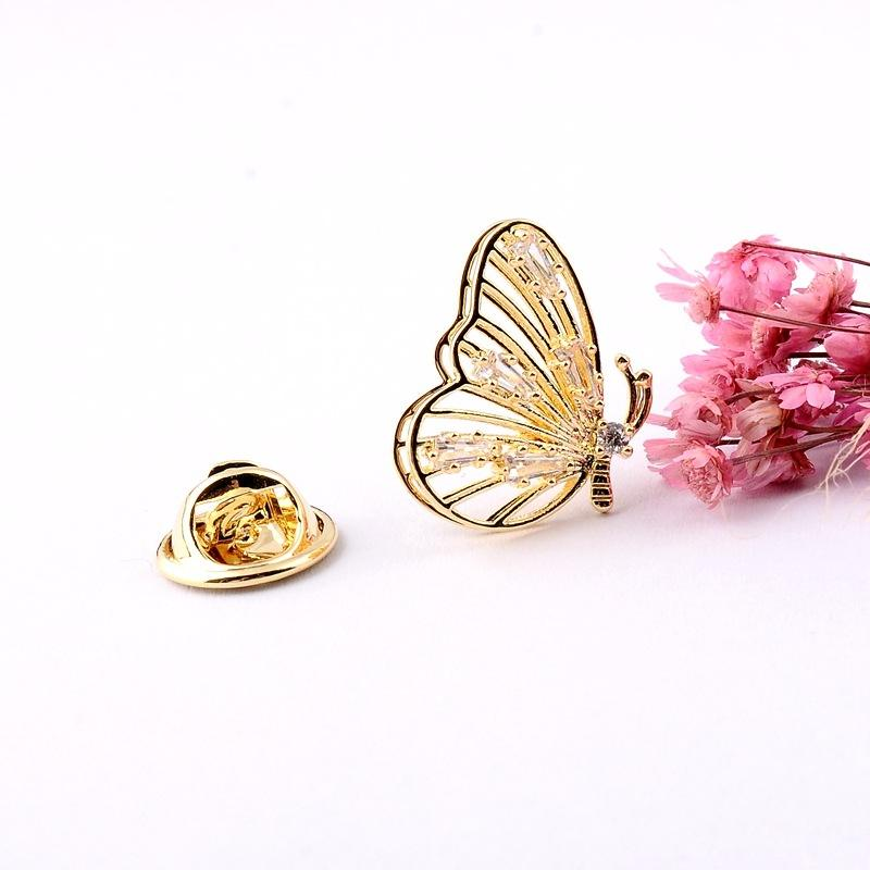 Custom Golden Rhinestone Handmade Design Broach Pin Plain Small Gold Saree Butterfly Brooch