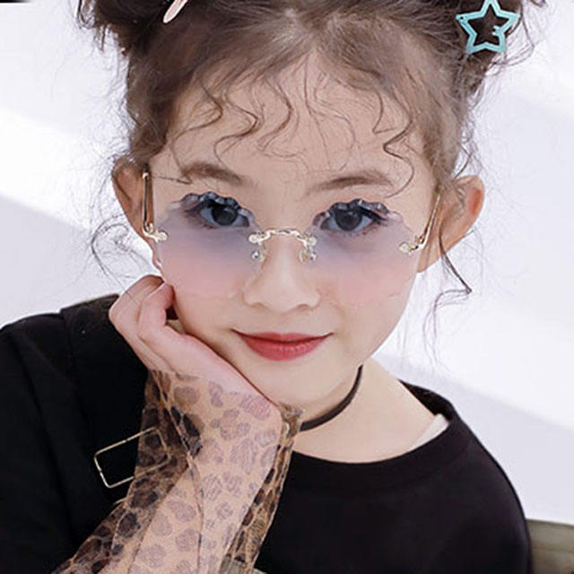 Children [ Sunglasses Eyewear ] Sunglasses Eyewear DLB4204 2020 Newest Kids Fashion Sunglasses Girls Sun Glasses Shades Rimless Flower Shape Children Eyewear