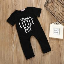 Baby Black Short Sleeve Jumpsuit Mom's Little Boy Fall Solid Color Cotton Baby Newborn Clothing