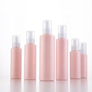 Plastic empty pink round lotion cream pet bottle 6oz cosmetic packaging