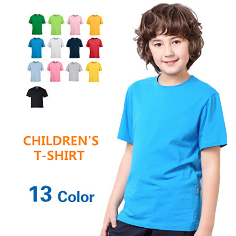 Wholesale blank 100% cotton children Tee short sleeves kids T shirts with custom logo