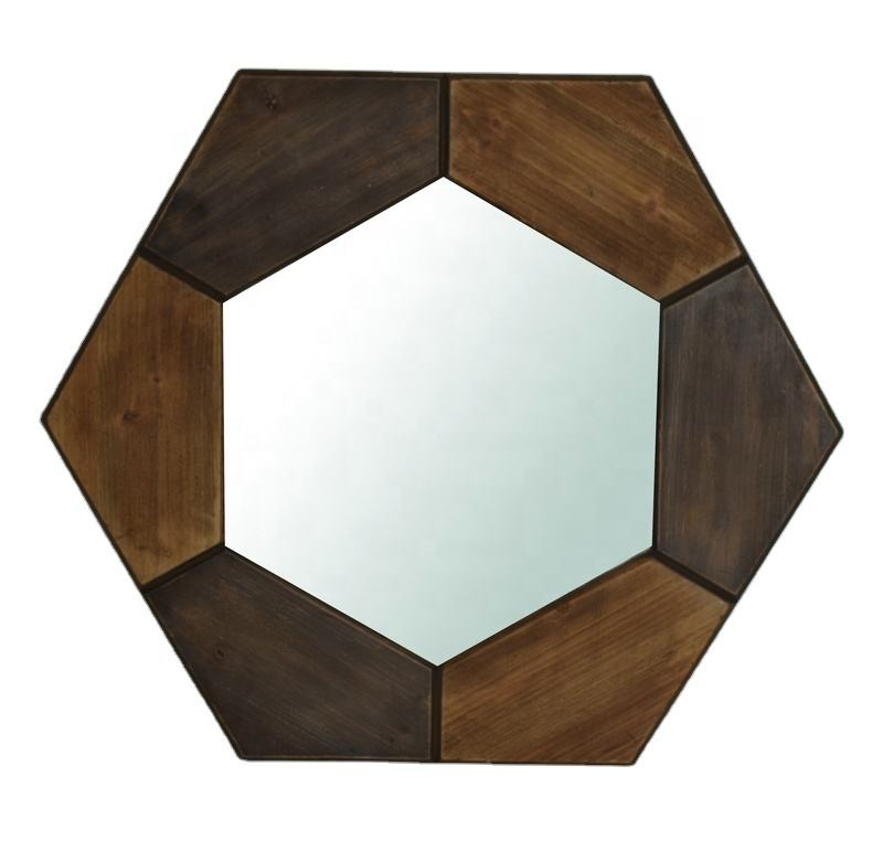 Amazon Best Seller Household Products Vintage Hexagonal Framed Decorative Wood Wall Mirror