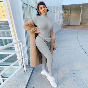 2020 Women Zipper One Piece Long Sleeves Bodycon Jumpsuits and Rompers lucky label Tights Stretch Jogging Suit jumpsuit