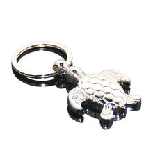 3D Three-dimensional Tortoise Shaped Key Ring Zinc Alloy Plated Silver Metal Sea Green Turtle Keyring