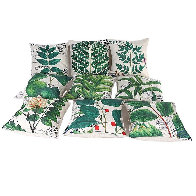 Wholesale green leaves linen cushion cover for sofa, home decor, natural style bedding pillow