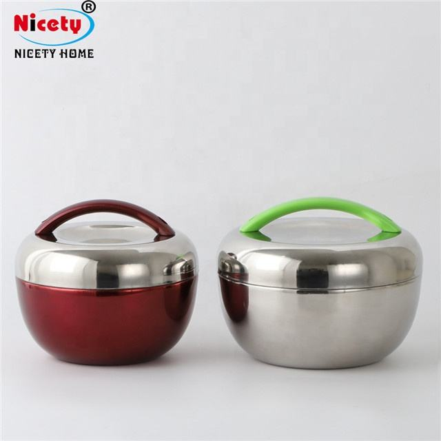 Nicety cute color food warmer apple shape stainless steel lunch box hot pack for kids