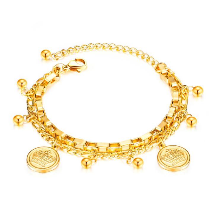 2020 Multi-layer Gold Crown Coin Bracelets Bangles Chain Link Bracelet Female Stainless Steel Bracelets for Women Accessories