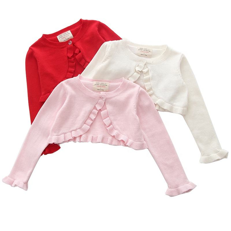 spring baby girls cardigan sweaters ruffles white pink red kids clothes wholesale children's clothing boutiques