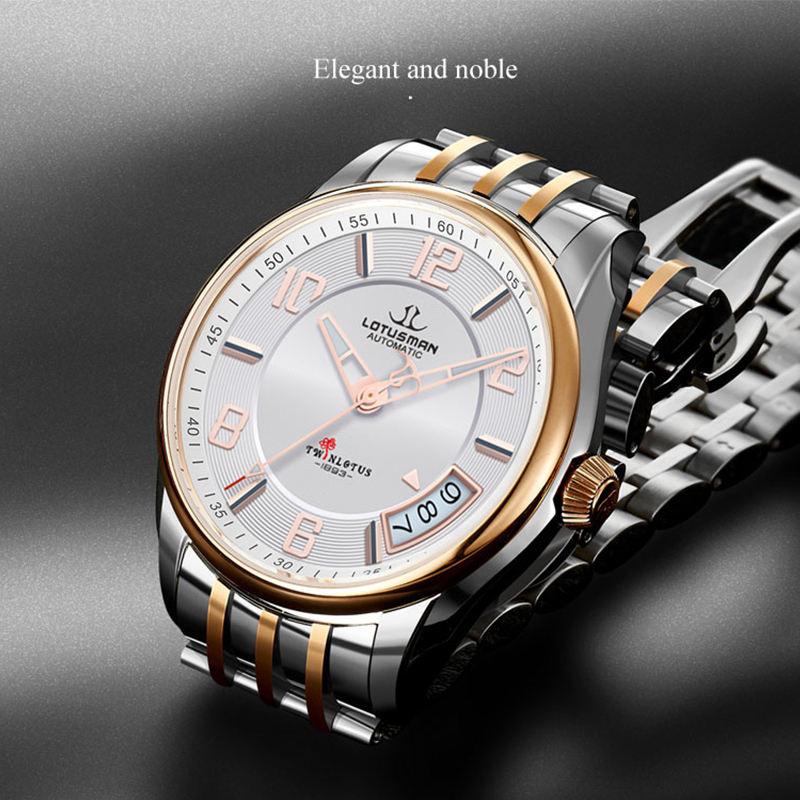 LOTUSMAN High quality best watches for men 5 atm water resistant 50 meter waterpoof watch clock wrist watch