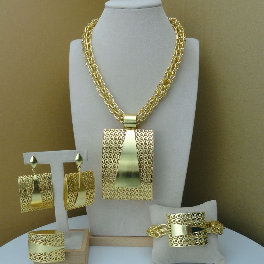 Yuminglai Italian Gold Plated Jewelry Sets African Big Jewelry Sets for Women FHK8068