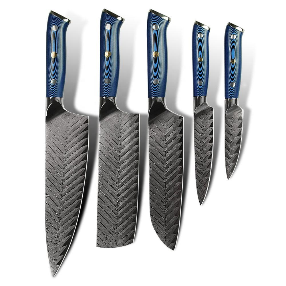 New Arrival Ladder Pattern Blue Handle Amber knife 67layers vg10 japanese kitchen damascus steel knife set