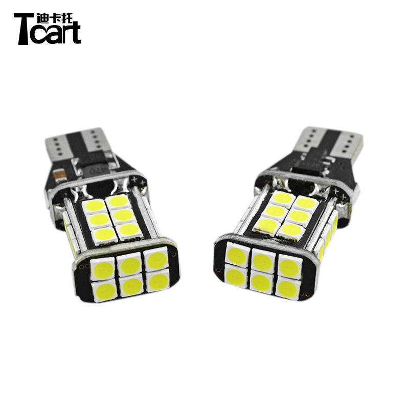 Tcart High Quality W16w Led Bulb 24smd Car 3030 921 T15 LED Reverse Lights automotivo Vehicle Auto 12V White led reversing lampe