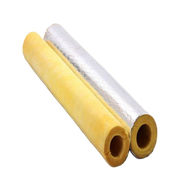 Steam pipe insulation material fireproof glass wool pipe with foil