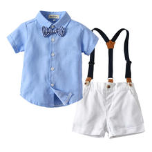 Baby Boy Suits Birthday Party Summer Newborn Toddler Boys Gentleman Outfit Suspenders Pants Baby Boy's Clothing Sets