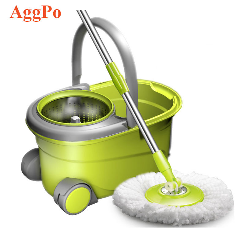 Spin Mop Bucket, Stainless Steel Deluxe 360 Spinning Mop Bucket Floor Cleaning System with wheels and mop