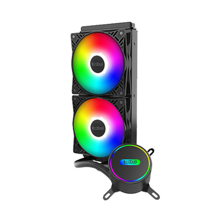 Pccooler GI-CL240 VC RGB 240 CPU Liquid Cooler All-in-One Closed Loop PC Water Cooling Quiet Addressable RGB Ring Fans