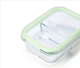 Rectangular [ 3 Divider ] 100% Food Grade Leak Proof BPA Free Clear Transparent Eco Lunchbox High Borosilicate Glass Food Container With 3 Divider