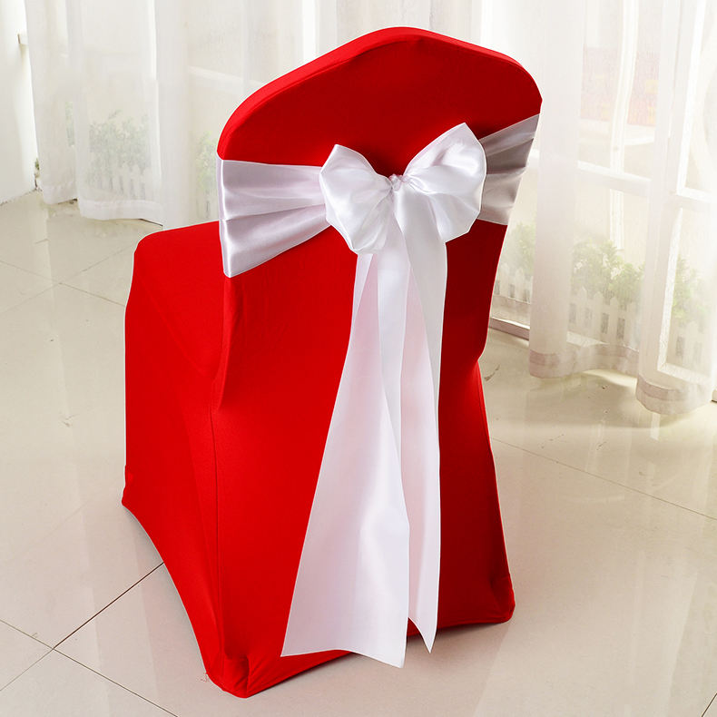 Hot Sale Decorative Party Hotel Banquet Wedding White Satin Chair Sashes Chair Bands Satin Romantic Chair Sash Ties