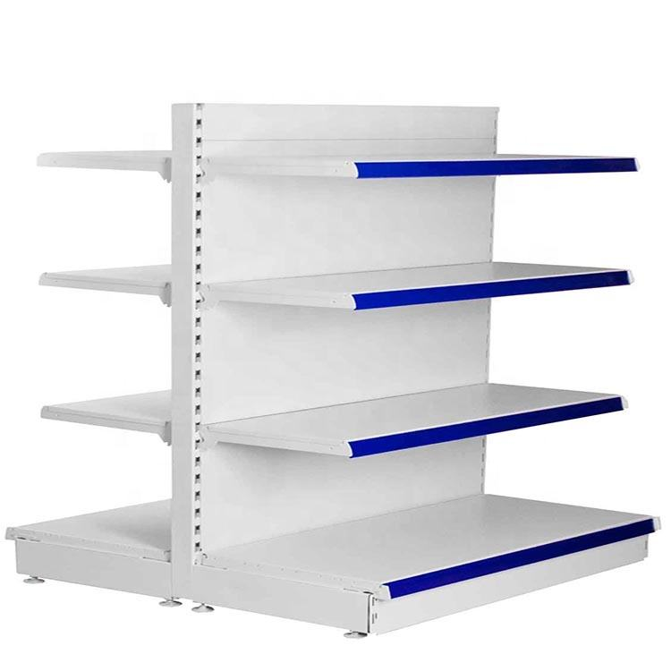 Iso approved double side gondola with price label metal rack supermarket shelf for supermarket