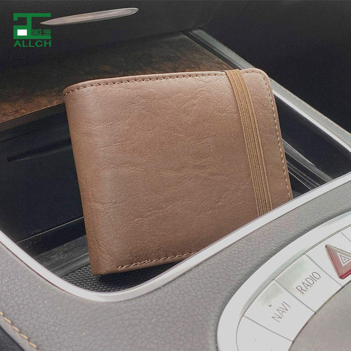 Men Bifold Slim PU Leather Retro Short Wallet Money Slots Credit Card Holder ID Window Coin Pocket Elastic Band Stitch Black Tan