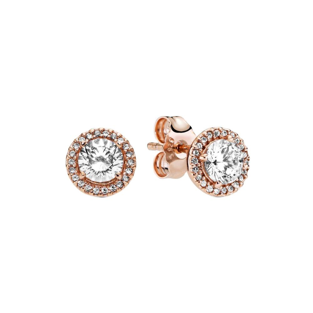 925 Sterling Silver Rose Halo Gold Stud Earring with Crystal for Pandora Jewelry Stud Earring for boy's Earrings 2020