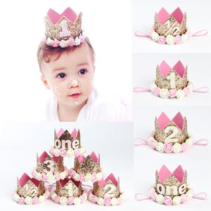 Elastic Baby Girl Birthday Hairband Flower Party Cap Crown Headband Kids Princess Birthday Hat Baby Hair Accessory