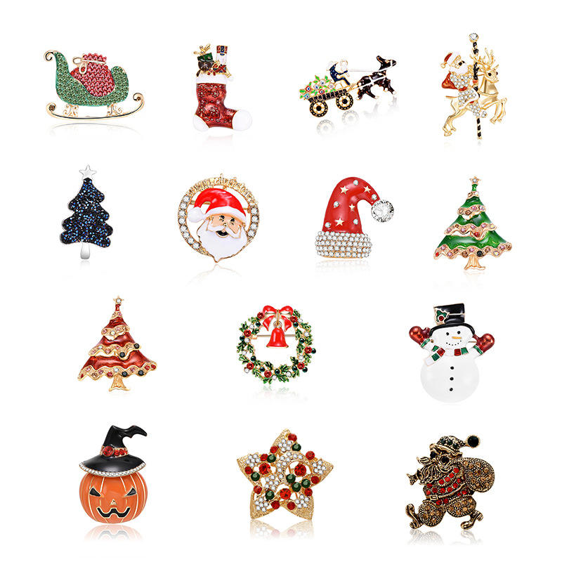 Popular creative Christmas series ornaments fashion personality brooch, new arrival holiday gifts man women brooch pin