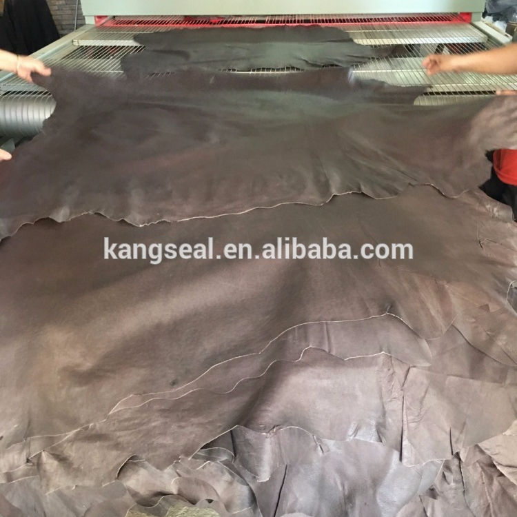 Dark brown pig crust leather for shoes lining garment etc