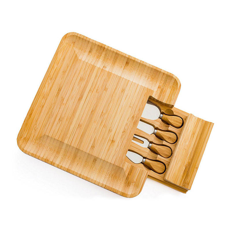 Organic bamboo Cheese Board Green Cutting Board with Cutlery tray Set with Slide-Out Drawer