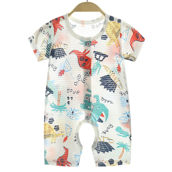 Summer baby one piece clothes newborn cotton short sleeve thin open crotch creeper